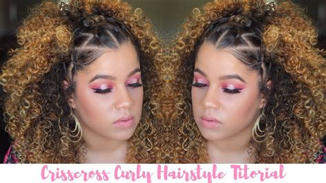curly hairstyle tutorial  crisscross rubber band