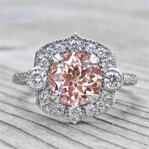 Peach Champagne Sapphire Engagement Ring & Diamond Halo. Seaweed Engagement Rings. Natural Wedding Rings. Pinterest Rings. Mens Thin Wedding Rings. 24k Engagement Rings. Houston Texans Rings. Obsidian Engagement Rings. Celebrity Blue Diamond Engagement Rings