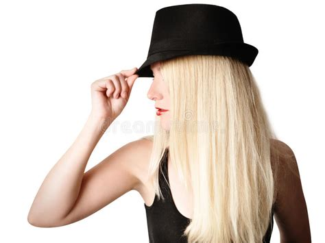 Pretty Girl With Fashion Hat And Hair On White Stock Image