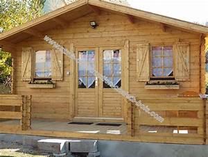 kit chalet de jardin bois pavier 20 m2 en madriers de 34 mm With permis de construire garage en bois