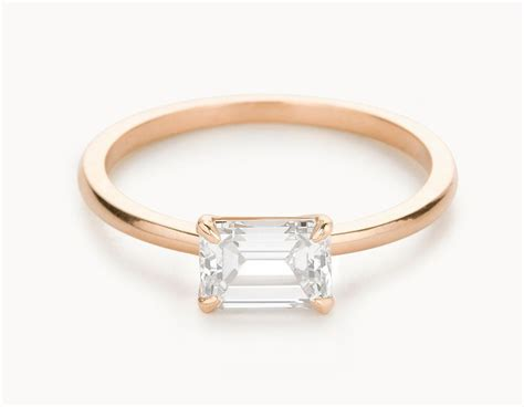 minimal 18k rose gold emerald cut horizontal setting diamond engagement ring my style