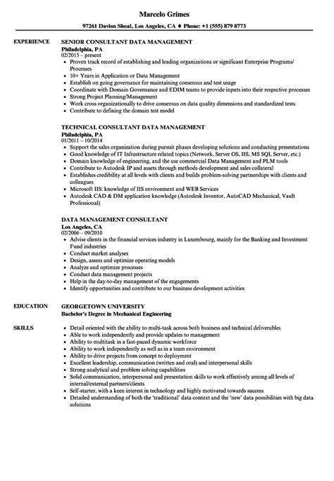 Data Management Resume Sle by Data Management Consultant Resume Sles Velvet