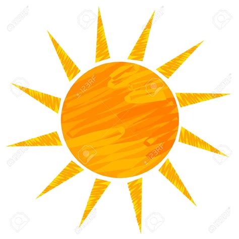 drawn vector sun pencil   color drawn vector sun