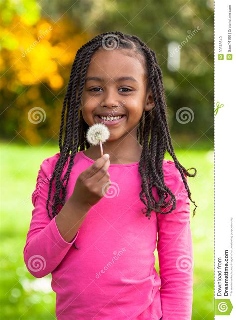 Outdoor Portrait Of A Cute Young Black Girl African People Stock Image Image Of African