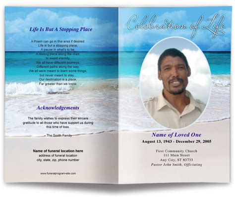 editable funeral program template template business