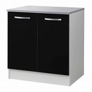 Meuble Bas 2 Portes : meuble bas 2 portes 80cm smarty noir ~ Dallasstarsshop.com Idées de Décoration