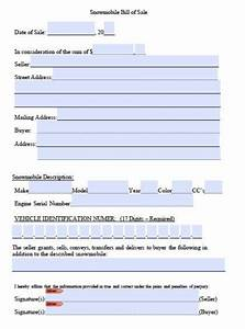 free snowmobile bill of sale form pdf word doc With snowmobile bill of sale template