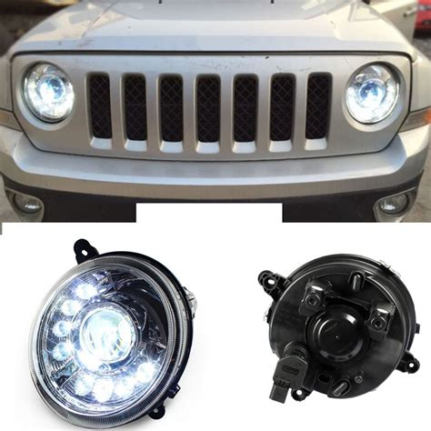 jeep black headlights 2pcs xenon headlights 8 led drl black housing for jeep