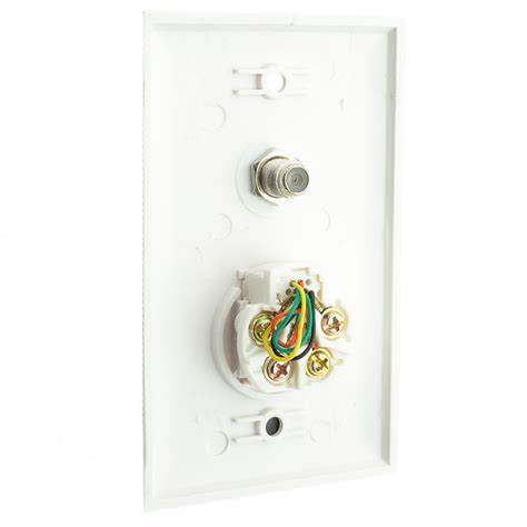 white wall plate satellite connector  telephone jack
