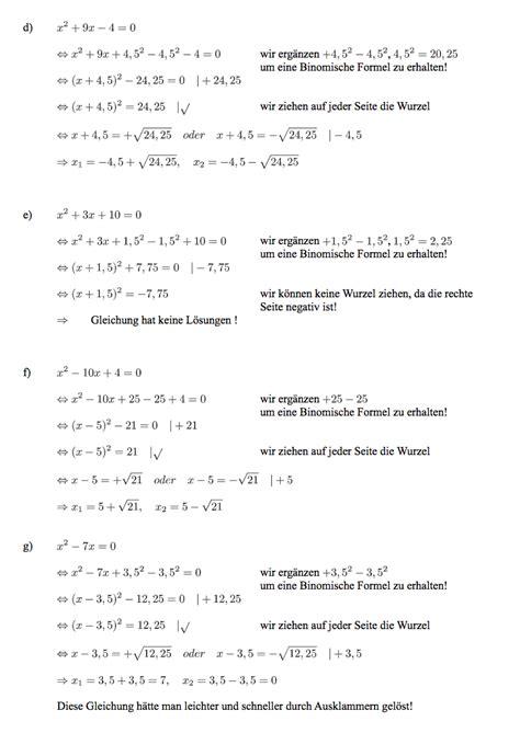 uebungsblatt quadratische gleichungen loesen ausfuehrliche