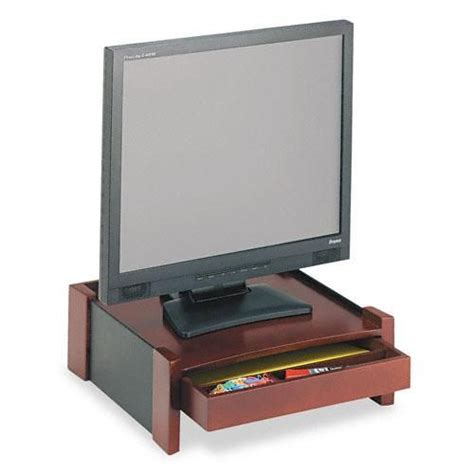 desk organizer monitor stand rolodex brown wood desktop monitor stand with cord