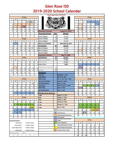 school calendar glen rose isd