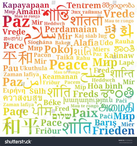 colors in different languages word peace different languages world filled stock vector