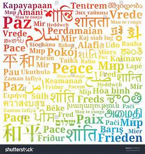 Word Peace Different Languages World Filled Stock Vector ...