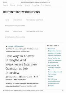 Job Interview Strengths Examples