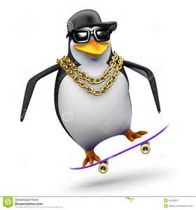 Penguin On Skateboard