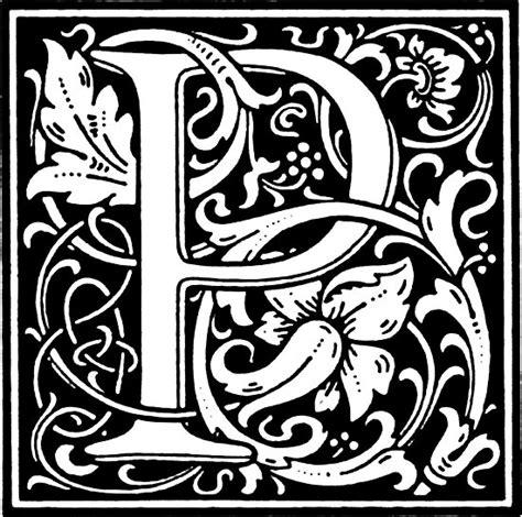 william morris renaissance style cloister alphabet letter p posters  pixelchicken redbubble