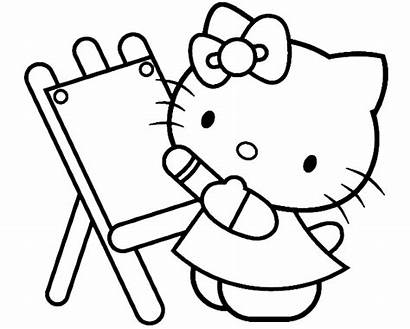 Coloring Painting Hello Kitty Pages Kidsdrawing Sheets
