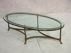 oval brass and glass coffee table With oval brass and glass coffee table