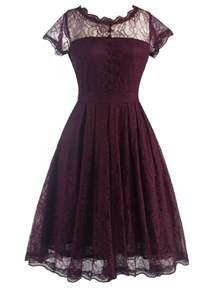 vintage dresses wine red retro women s laciness back v