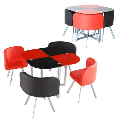 foxhunter glass top dining table and 4 faux leather chairs