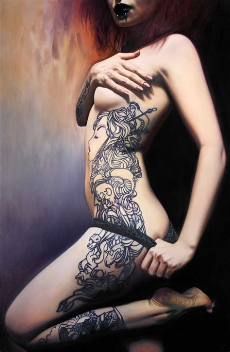 Quietly Sensual Paintings Of Women With Unique Tattoo