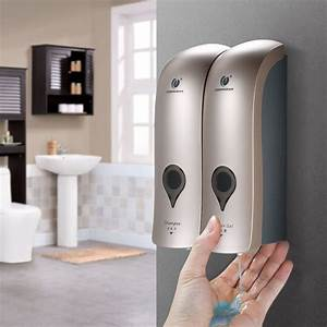 No Drilling Wall Mounted Soap Dispenser Double