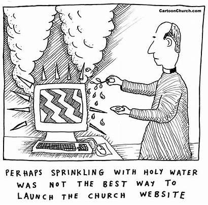 Church Cartoon Technology Website Computer Funnies Holy