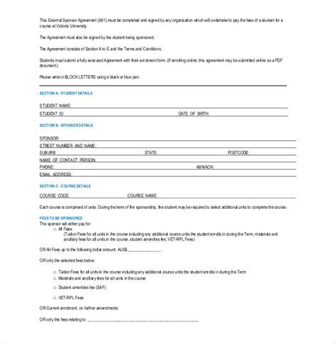 sponsorship agreement template 15 sponsorship agreement templates free sle exle format free premium