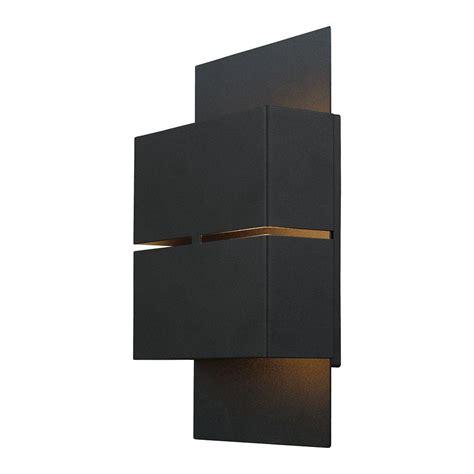 eglo kibea 2 light matte black outdoor integrated led wall