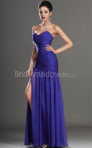 bridesmaid dresses in royal blue chiffon trumpet mermaid sweetheart floor length split front royal blue bridesmaid dresses