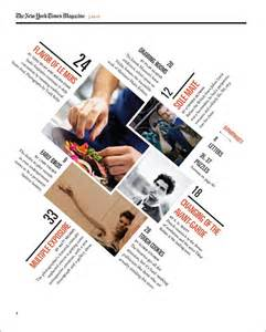 grafik designer portfolio a redesigned new york times magazine table of contents made as a school project hallie bean