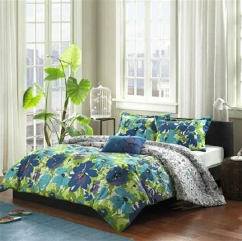 twin twin xl girls teen blue green purple tropical floral comforter bedding set college flow