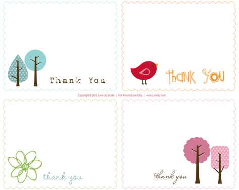 free thank you notes templates free printable thank you notes june lily design