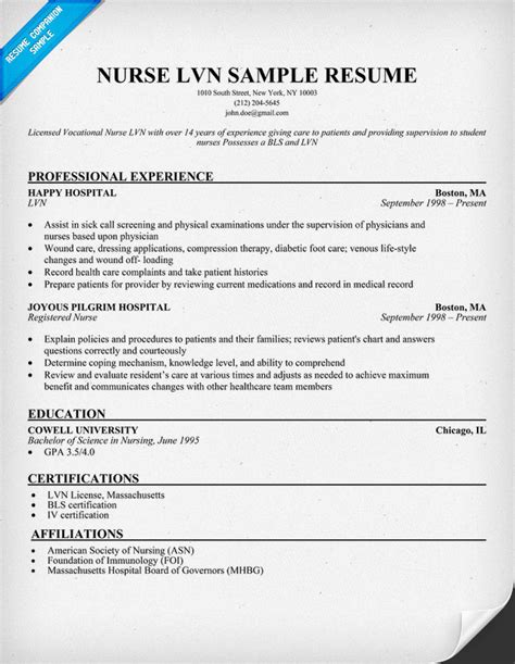 lvn resume sle http resumecompanion