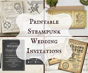 Printable steampunk wedding invitations for Free printable steampunk wedding invitations
