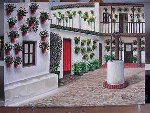 Paintings Of Cordoba Patios And Andalusian Patios By