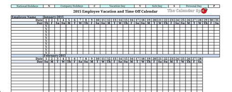 Free Downloadable 2015 Calendar Template Downloadable Employee Vacation Calendar 2015 Calendar