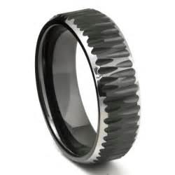 black tungsten wedding band black tungsten carbide hammer finish beveled wedding band ring