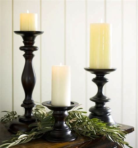 pottery barn candle holders turned wood pillar holders traditional by pottery barn