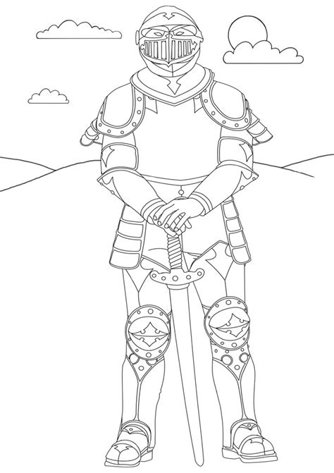 knight colouring page rooftop post printables
