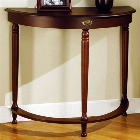 It should also be adapted to the decor of your interior. Euphony Half Moon Hall Table - Walnut, Gold Finished Accent (With images) | Hall table ...