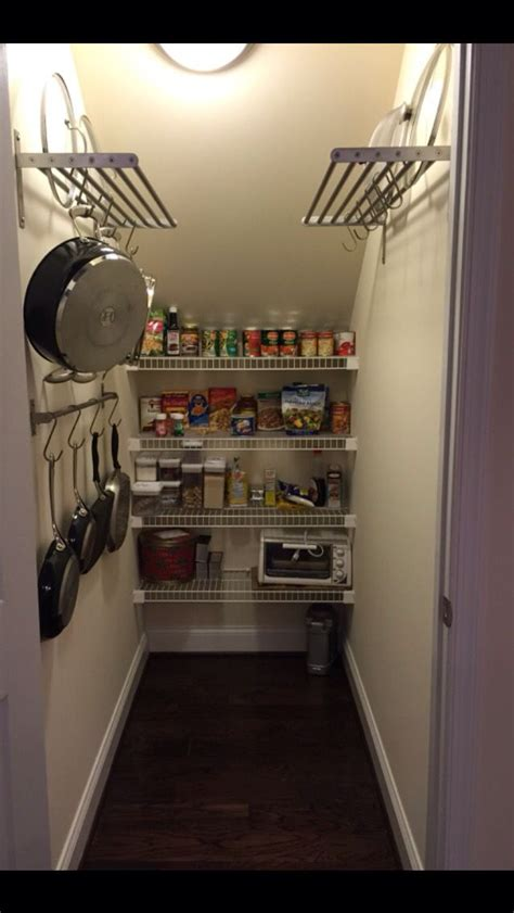 I planned on three 10 deep shelves for the using a level and a straight edge, we marked where the shelves would go, and carefully screwed the shelf. Under stairs pantry IKEA shelves, rod and hooks. | Make my own | Kitchen pantry cupboard, Under ...