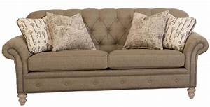 Traditional button tufted sofa with nailhead trim by smith for Tufted nailhead sectional sofa