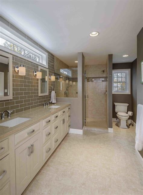 transom window bathroom traditional  beige bathroom vanity beige cabinets beige countertop