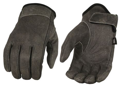 Men's Leather Motorcycle Gauntlet Glove W/ Removable