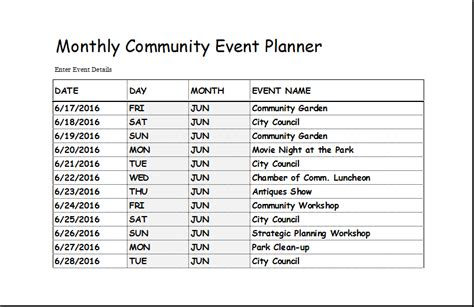 community event planner template  excel excel templates