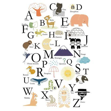 poster chambre bebe affiche alphabet abc annelore parot pour poisson bulle
