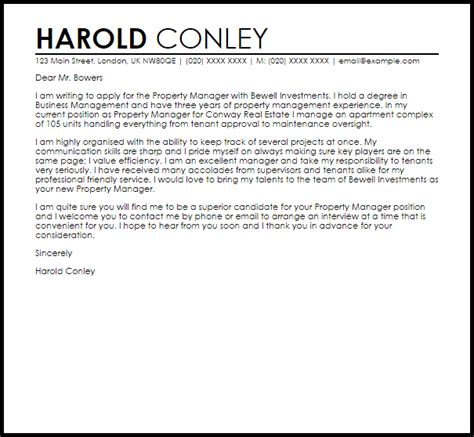 Cover Letter For Assistant Property Manager by Property Manager Cover Letter Sle Cover Letter