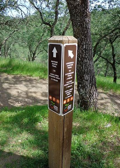 Trail Signs Open Space Hiking Area Bay